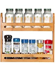 JackCubeDesign Bamboo Spice Rack Two Tier Kitchen Countertop Worktop Display Organizer Spice Bottles Holder Stand Shelves(12.76 x 2.76 x 10.8 inches) – :MK377A