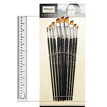 la peinture acrylique la gouache et la peinture /à l/'aquarelle Lightwish Ensemble de 9/pinceaux d/'artiste en nylon dot/és d/'un long manche pour la peinture /à l/'huile