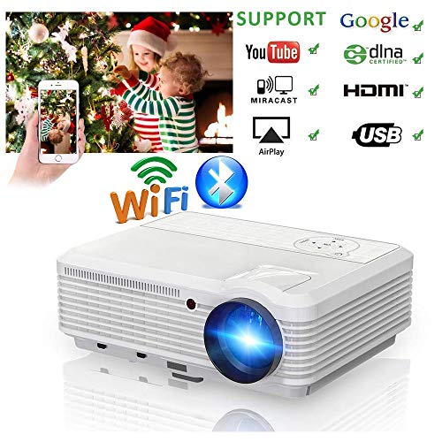 200' LCD LED HD Android 6.0 Projector WiFi...