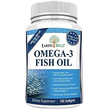 Earthwell Omega 3 Fish Oil Supplement Lemon Flavored – 180 Capsules