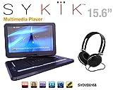 Sykik SYDVD0168 15.6'' All multi region, zone free, HD swivel portable DVD player,USB,SD ports with headphones, Ac adaptor,car adaptor Remote control (one year warranty) Black