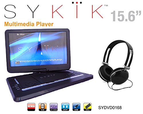 Sykik SYDVD0168 15.6'' All multi region, zone free, HD swivel portable DVD player,USB,SD ports with headphones, Ac adaptor ,car adaptor Remote control (one year warranty) Black