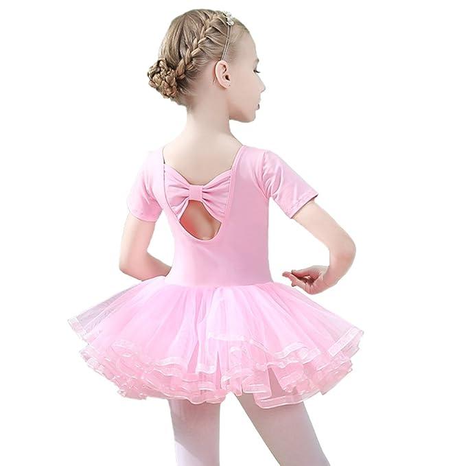 c8de8fdbcfca Amazon.com: Winzero Girls Ballet Tutu Slim Dress Short Sleeve Soft ...