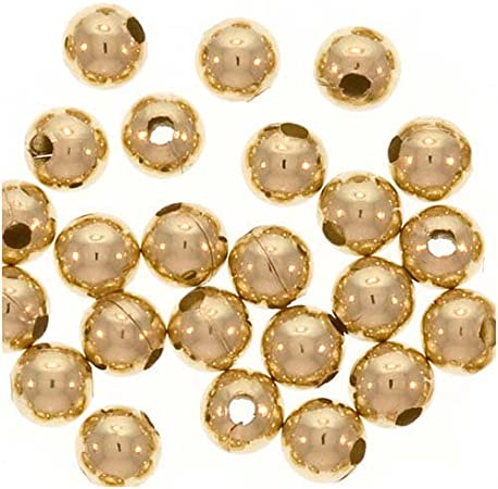 2mm Hole Round Seamless Beads 5mm Gold Filled Large Hole Beads 50 pcs 14KT Gold Filled