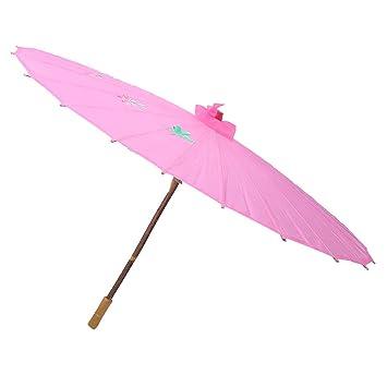 Sourcingmap – a13103000ux0515 Mango de madera plegado ciruelo chino bambú paraguas sombrilla, color rosa