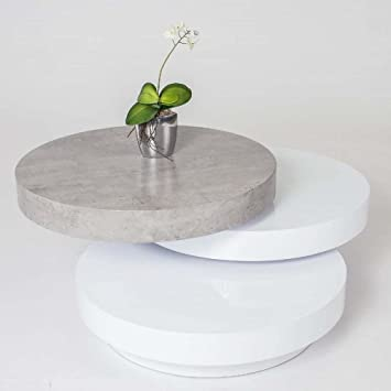 Rondo Design Table Ego Beton Blanc Basse Pivotante Gris shCdQrxt