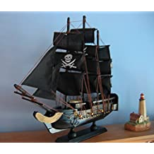 """Wooden Ship Model PIRATE SHIP with JOLLY ROGERS 13""""Long FULLY ASSEMBLED Gold Trm"""
