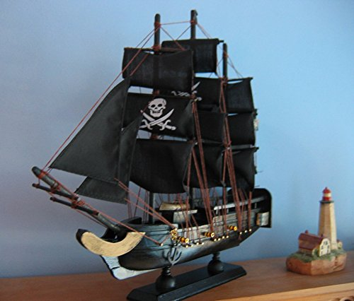 Wooden Ship Model PIRATE SHIP with JOLLY ROGERS 13