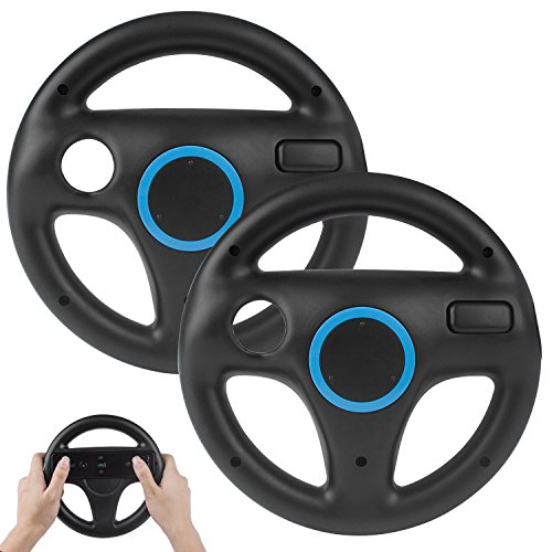 2Pack Mario Kart Wii Steering Wheels, TechKen Mario Kart Racing Wheel for Nintendo Wii, Mario Kart, Tank, More Wii or Wii U Racing Games (Best Driving Games For The Wii)