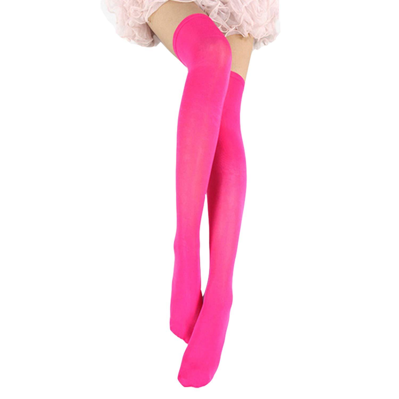 Lisli Women Girls Over the Knee Socks Thigh High Stockings Long Plain Socks (Rose Red)