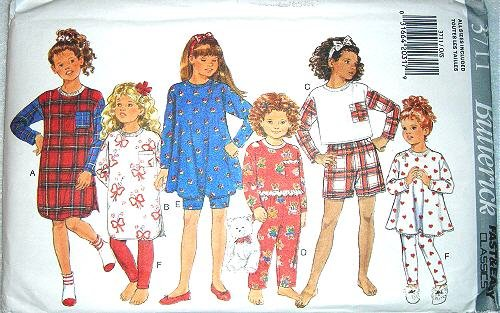 Butterick Sewing Pattern 3711 Girls' Nightshirt, Pajama Top, Shorts, Pants & Leggings, Size 4 5 6 7 8 10 12 14 (Pajama Sewing Pants)