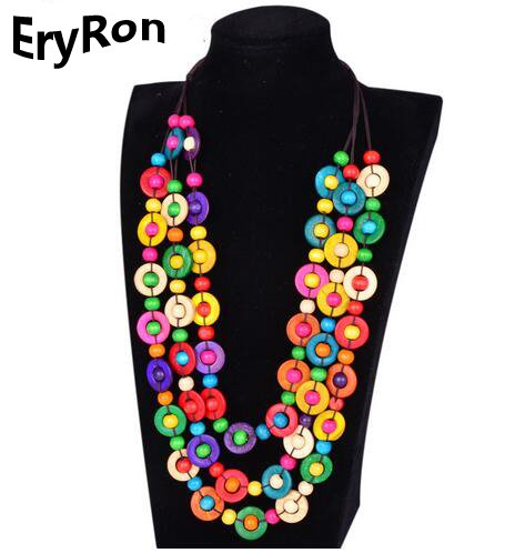 EryRon Bohemia Ethnic Necklace & Pendant Multi Layer Beads Jewelry Vintage Statement Long Necklace For Women Handmade Coconut shell Wood Jewelry - Coconut Shell Jewellery
