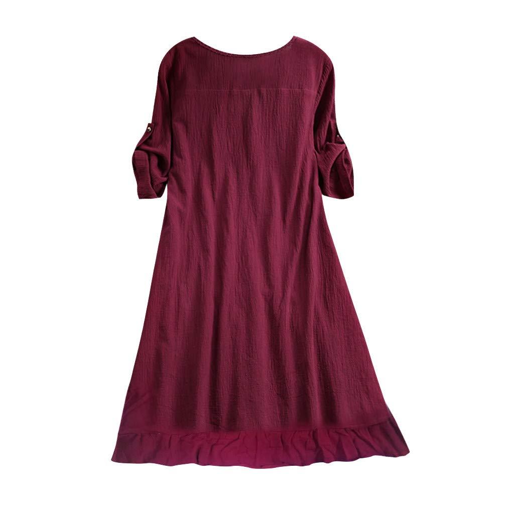 Bestow Vestido de Botš®n de Color sš®Lido con Cuello Redondo para ...