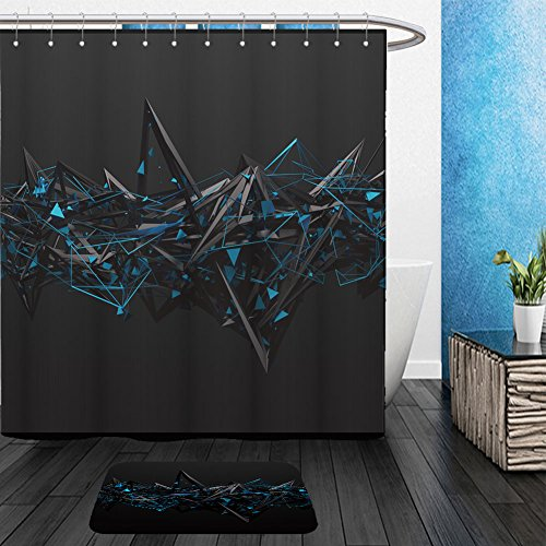 Futuristic Space Suit Costume (Vanfan Bathroom 2 Suits 1 Shower Curtains & 1 Floor Mats abstract d rendering of chaotic structure dark background with futuristic shape in empty space 272887199 From Bath room)