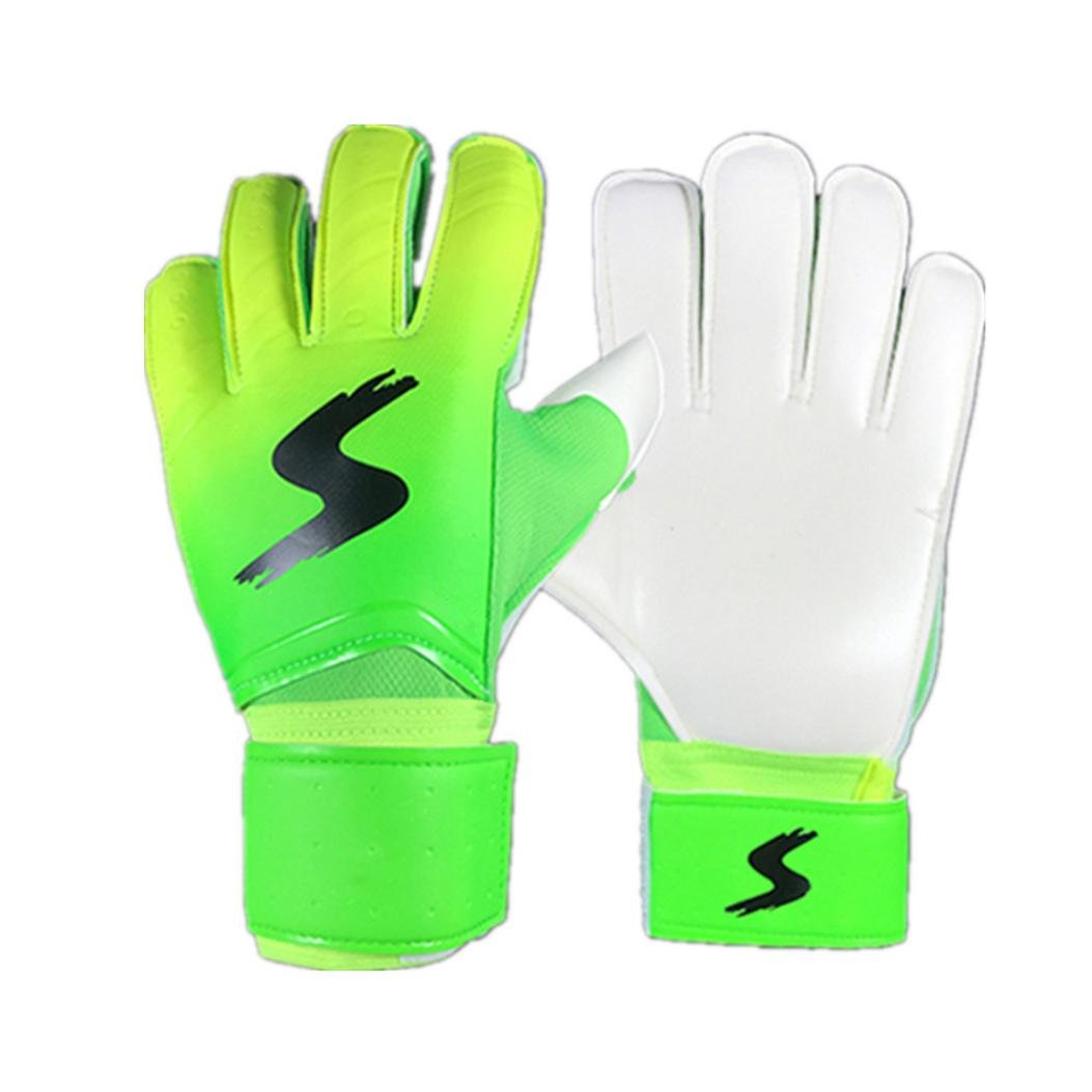 [ Goalkeeper Goalie Keeper Gloves ] Roll Finger [ Soccer Goalie Gloves ] Football Gift (Green, M) Sunsee