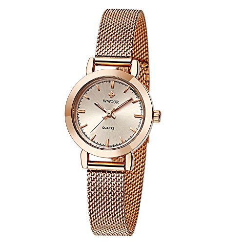 Amazon.com: WWOOR Womens Watches Quartz Watch Ladies Wrist Watches for Women Stainless Steel Strap Rose Gold: Health & Personal Care
