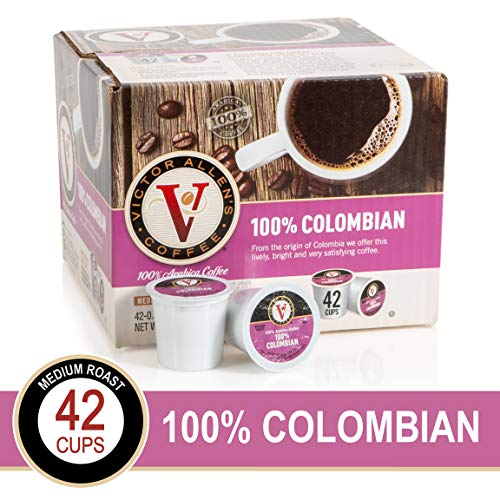 100% Colombian for K-Cup Keurig 2.0 Brewers, 42 Count, Victor Allen's Coffee Medium Roast Single Serve Coffee Pods