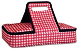 DII Insulated Casserole Carrier, Perfect for Holidays, BBQ's, Potlucks, Parties, To Go Lunches, Craft/Dish Storage & Monogramming - Checkered Red/White