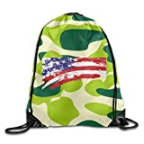 2018 Draw The American Flag Drawstring Bags Sports Backpack Sport Bag For Men & Women