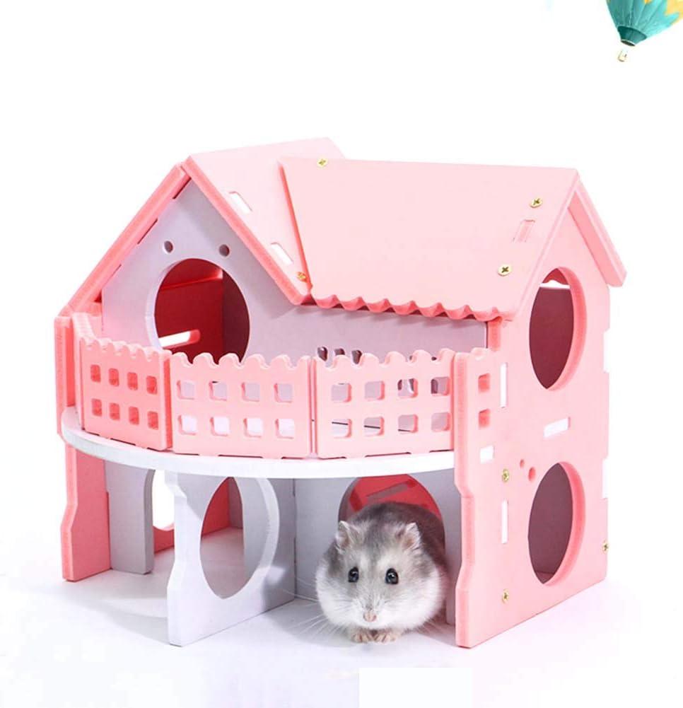 WFZ17 Suministros para Mascotas, Madera de Doble Cubierta, Conejo, Rata, hámster, casa de la Villa, Jaula para Mascotas pequeña, Juguete
