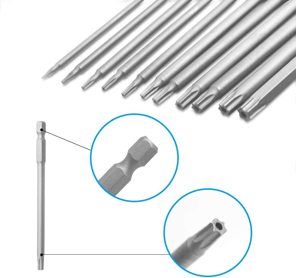 11 Pcs Torx Head Screwdriver Bit Set,YuCool 1//4 inch Hex Shank T6-T40 S2 Steel 4 Inch Long Security Tamper Proof Screwdriver Drill Tool Kit with 1 Manual Handle