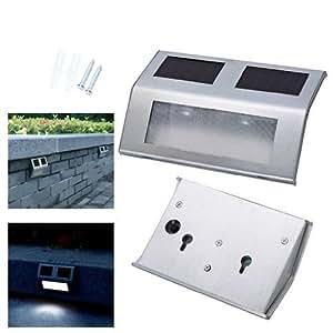 Andoer luz recargable solar para escalera muro luces for Iluminacion solar para exterior