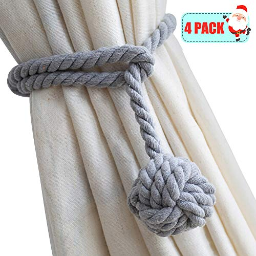 Yacolife 4 Pack Curtain Tiebacks,Handmade Natural Cotton Curtain Rope Tieback,Decorative Rope Holdbacks/Holder for Window Sheer and Blackout Panels,Grey ()
