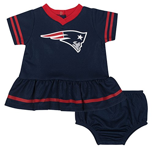 New England Patriots Infant - NFL New England Patriots Baby-Girls 2-Piece Football Dress Set, Blue, 18 Months