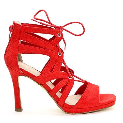 con con a cm Tacco Obsel amp;Scarpe Sandali Frontale Scarpe Rosso 10 Alti Gabbia Allacciatura 7qwzxYwIf