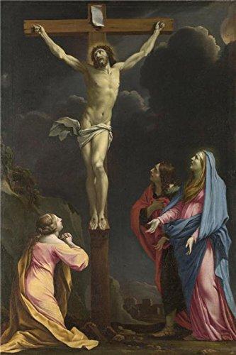 Eustache Le Sueur–Christ on the Cross with the Virgin and Saints、について1643`油絵、8x 12インチ/ 20x 31cm、の印刷ポリエステルキャンバス、このアート装飾キャンバスプリントは、Perfectly Suitalbe Forパウダー部屋装飾、ホームとギフトの商品画像