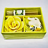 Rose Scented Candle Yellow Color Elephant Ceramic Style From Thailand