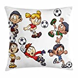 Lunarable Boy's Room Throw Pillow Cushion Cover, Cartoon Style Children Happy Funny Kids Playing Soccer Boys Girls with The Ball, Decorative Square Accent Pillow Case, 26 X 26 inches, Multicolor