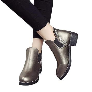 Sonnena bota corta Casual - Zapatos planos de mujer remaches Casual Boots Botines de cuero con punta redonda: Amazon.es: Hogar
