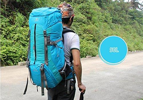 YYY-Montañismo al aire libre bolsa a hombres de mochila de camping al aire libre de 50L y mujeres viajando hombros bolsos camping mochila , green Light Blue