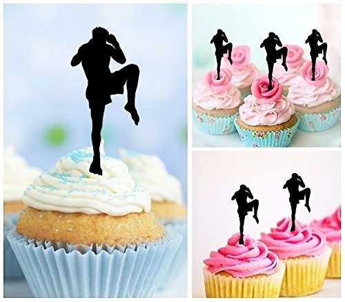 TA0204 Muay Thai Kickboxing Silhouette Party Wedding Birthday Acrylic Cupcake Toppers Decor 10 pcs by jjphonecase