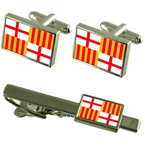 Barcelona Cufflinks - Select Gifts Barcelona City Spain Flag Cufflinks Tie Clip Box Gift Set