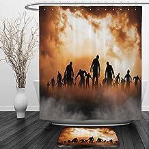 Vipsung Shower Curtain And Ground MatHalloween Zombies Dead Men Body Walking in the Doom Mist at Dark Night Sky Haunted Orange BlackShower Curtain Set with Bath Mats Rugs
