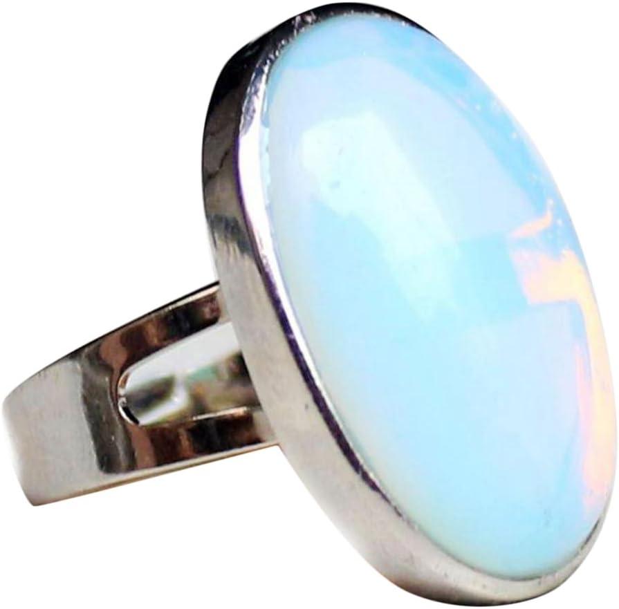 MagiDeal Anillo Ajustable de Dedo Hecho de Piedra Preciosa Oval Cristal Natural - Ópalo