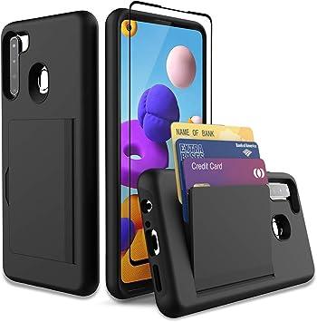 Leeyan Coque pour Samsung Galaxy A21 avec protection d'écran en verre trempé, double couche lisse, coque arrière rigide, portefeuille, poche pour ...