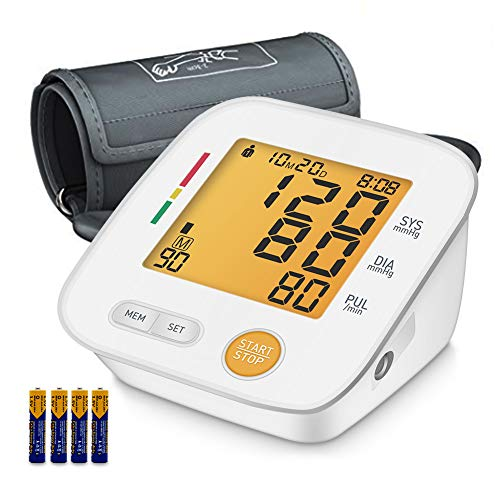 Blood Pressure Monitor Upper Arm, Digital BP Meter with Large Display, Upper Arm Cuff, 2 * 90 Readings Memory, Irregular Heart-Beat & Blood Pressure Indicator for Home Use [FDA Approved]