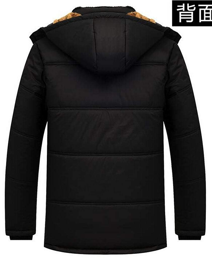 Jofemuho Mens Hooded Winter Thicken Fleece Lined Down Quilted Coat Jacket Outwear