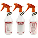 Mighty Gadget R 3 Pack of 32 oz Premium Quality Empty Chemical Resistant Spray Bottle with No Clogs, Leak Proof Sprayers 40% More Spray Power (Orange Sprayers)