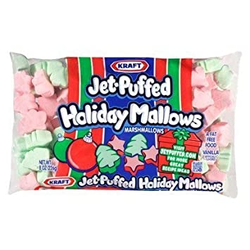 kraft jet puffed holiday mallows vanilla marshmallows pink green 8 oz bag p