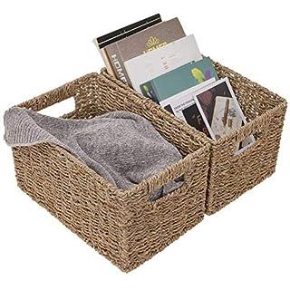 """StorageWorks Seagrass Storage Baskets, Rectangular Wicker Baskets with Built-in Handles, Medium, 13"""" x 8.4"""" x 7.1"""", 2-Pack"""