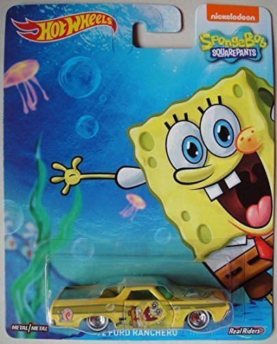 HOT WHEELS POP CULTURE SERIES YELLOW '72 FORD RANCHERO SPONGEBOB AND GARY THE SNAIL DIE-CAST