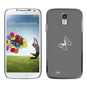 Samsung Galaxy S4 , JackGot - Impreso colorido protector duro espalda Funda piel de Shell (Gris Gris Minimalista Blanca)