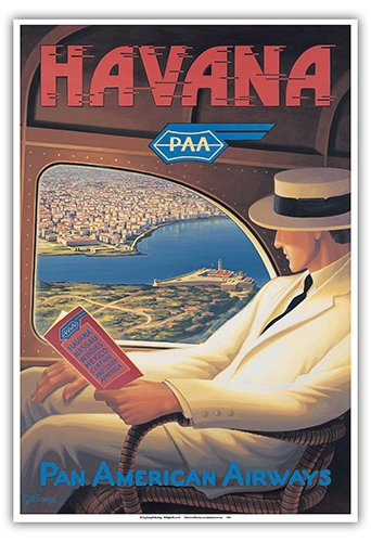 Havana, Cuba - Pan American Airways (PAA) - Vintage Style Airline Travel Poster by Kerne Erickson - Master Art Print - 13 x 19in ()