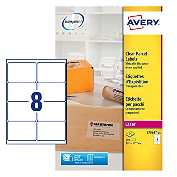 avery l7565 25 self adhesive clear parcel shipping labels 8 labels