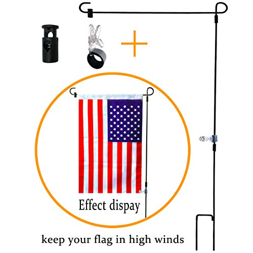 3 Piece Garden Flagpole - BOUTIQUE_GOODS Garden Flag Stand-Holder-Pole with Garden Flag Stopper and Anti-Wind Clip 36.3