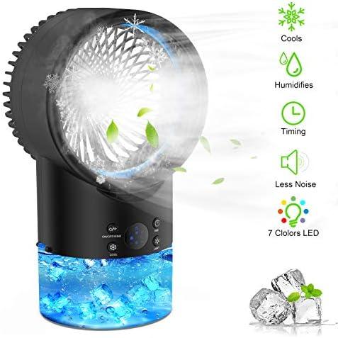 EEIEER Aire Acondicionado Portatil Enfriador Aire, 4 IN 1 Mini Air Cooler Personal Aire Acondicionado Portátil Oficina Turbo-Ventilador Ventilador Humidificador Purificador para Casa/Oficina: Amazon.es: Hogar